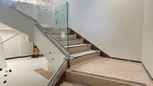 38. Glass railings and finished terrazzo flooring 9.9.21